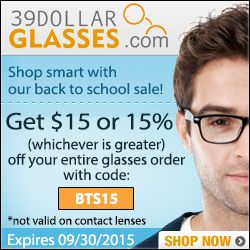 Get $15 or 15% off your entire glasses order! (whichever is greater). Use code BTS15. Expires 09/30  Eyewear http://www.planetgoldilocks.com/eyeglasses.htm $15 or 15% off your entire glasses order #39DollarGlasses Use #couponcode BTS15