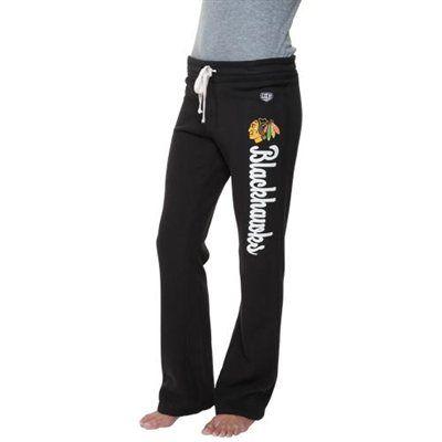 Old Time Hockey Chicago Blackhawks Ladies Duchess Fleece Pants - Black