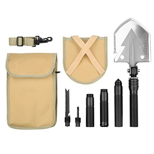 Camping Shovels - Forfar Military Folding Shovel 15 in 1 Multi function Tool with Tactical Waist Pack for Camping Backpacking Outdoor Hiking Automobile Garden Winter Heavy Duty Emergency Survival Gear *** Read more reviews of the product by visiting the link on the image.