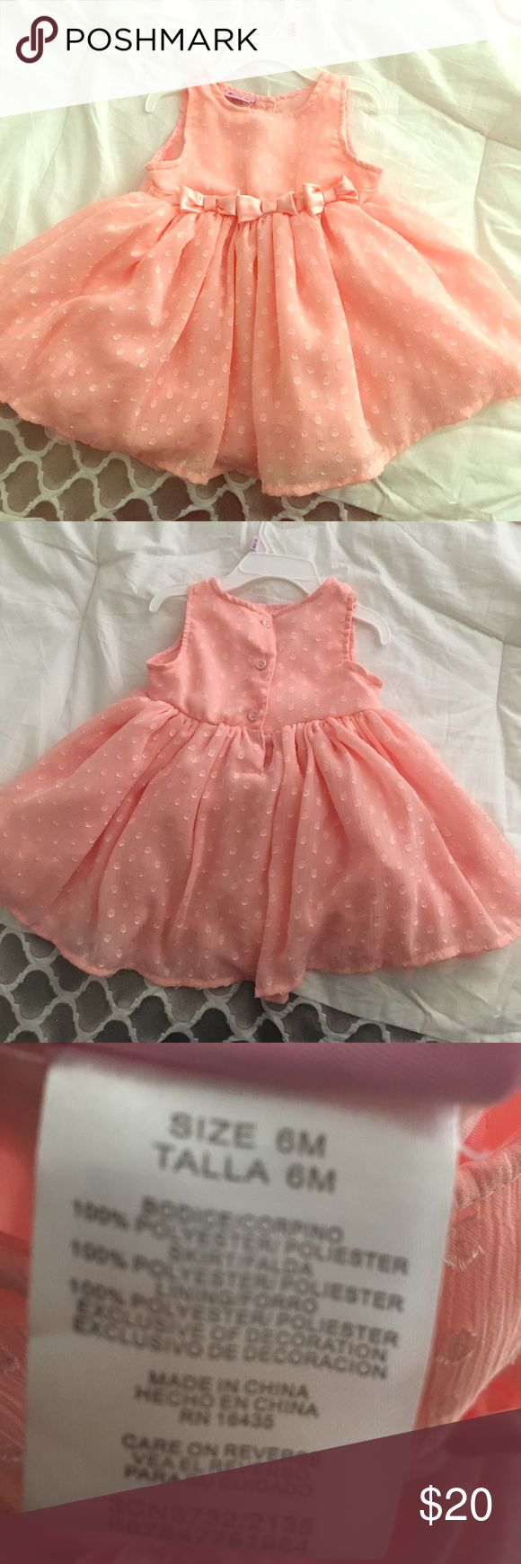 Baby Dress Worn once! Beautiful pink color with bows. Comes with a white faux fur jacket Dresses