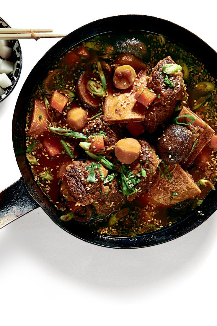 """NYT Cooking: Here is an adaptation of the Korean braised-short-rib stew known as <i>galbijjim</i>, a staple of neighborhood potlucks and church suppers and, in the words of the Los Angeles chef Roy Choi, """"that meal from home that every Korean kid says his or her mom does best."""" His recipe (well, my version of his recipe, which is his version of his mom's) is rich and deeply fla..."""