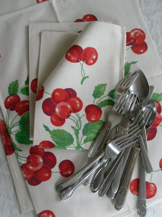 Vintage Cherry Napkins Heavy Cotton Napkins Fruit ~ from Etsy