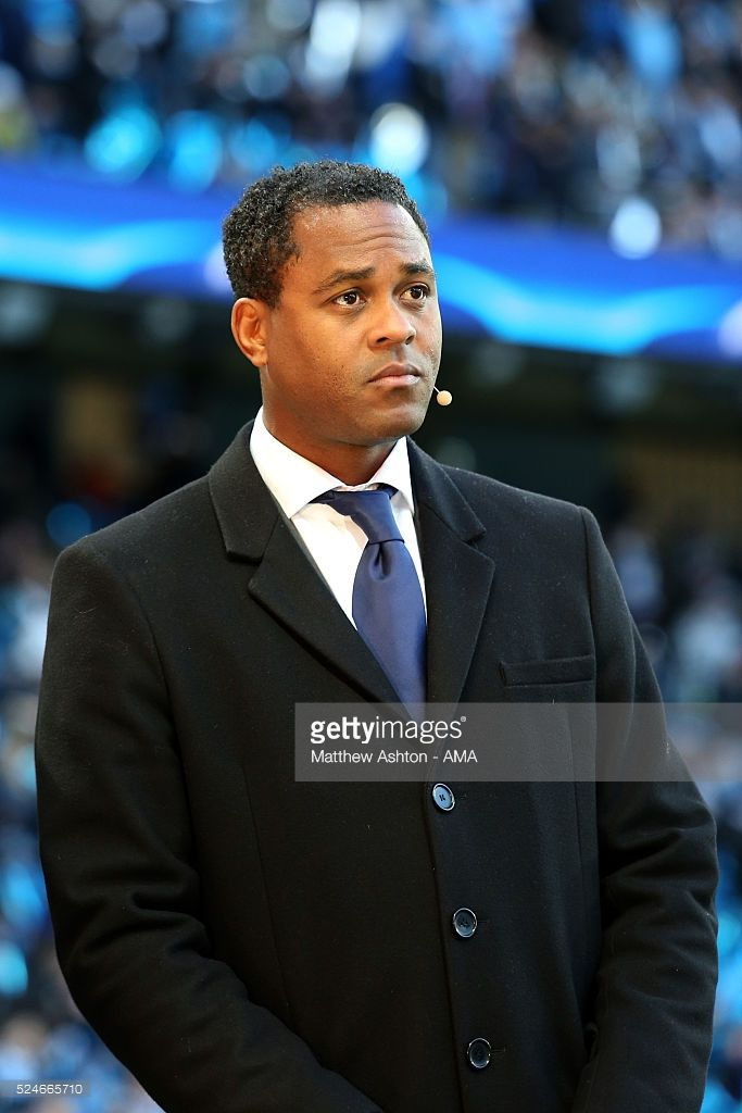 Former dutch footballer, Patrick Kluivert working for a TV Channel during the UEFA Champions League Semi Final first leg match between Manchester City FC and Real Madrid at the Etihad Stadium on April 26, 2016 in Manchester, United Kingdom.