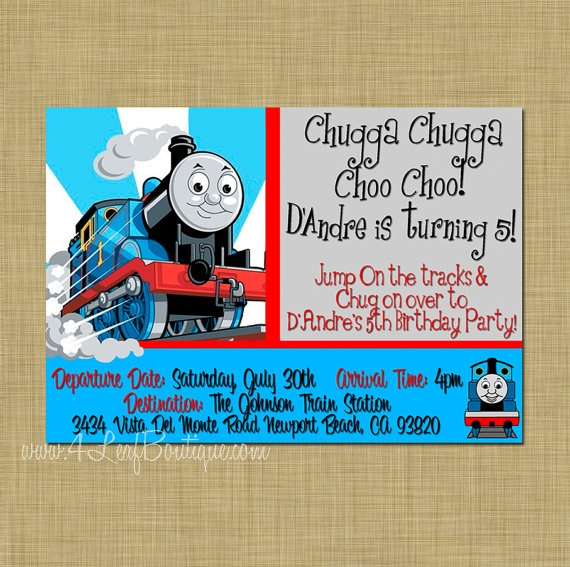 Thomas The Train 1st Birthday Invitations save our oceans
