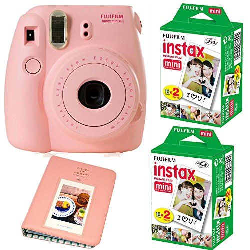 Fujifilm Instax Mini 8 Instant Film Camera (Pink) + 2 Fujifilm INSTAX Mini Instant Film Twin Pack ( = 40 Sheets) With Photo Album 64 Pockets Pink Value Set Bundle