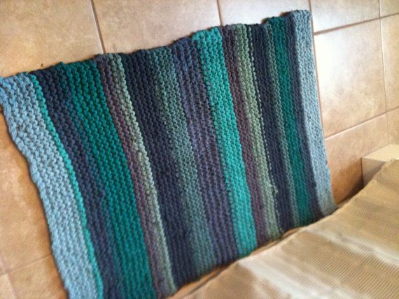 upcycled wool rug   Recycled, Up-cycled, Repurposed Hand Knit Tee Shirt, T-Shirt Rug, Bath ...