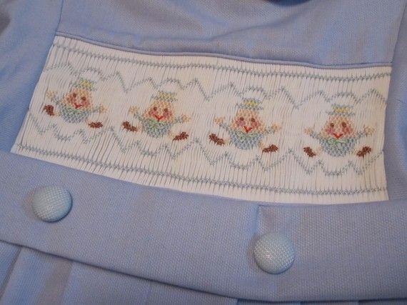 Smocked one piece Boy's Suit sample size 4 by SmockingByGinaBug