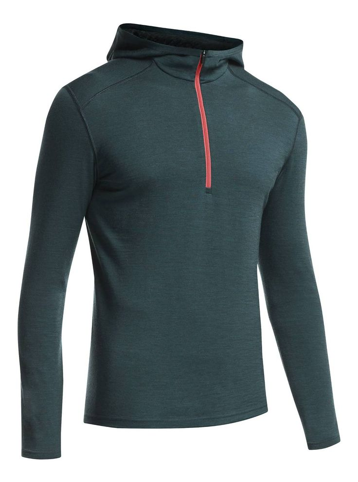 For mild and snowy days, look to the  Icebreaker Oasis LS Half Zip Hood. In addition to keeping you warm, the 100% merino wool naturally resists odor. No deodorant needed when wearing this baselayer! Available at CAN-SKI.