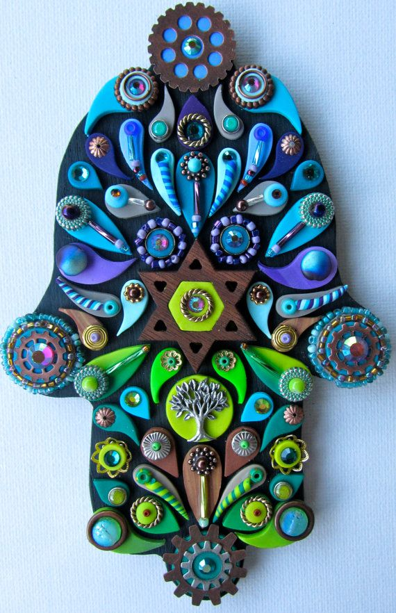 Decorative Hamsa Embellished Blue Green Wall Art Wall by iluvPiC