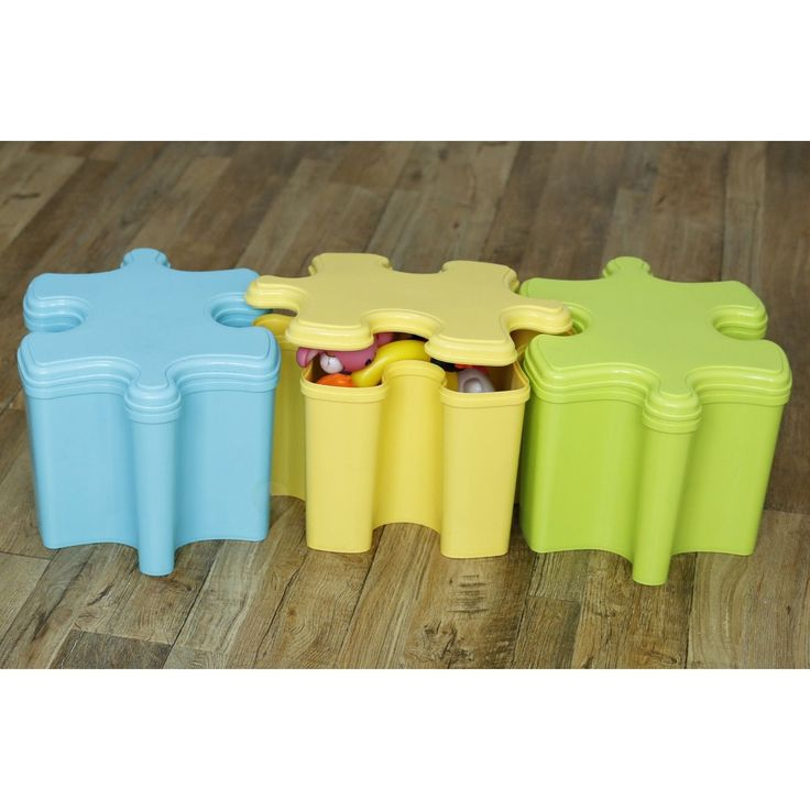 Basicwise Set Of Three Puzzle Piece Shaped Toy Storage Containers With Lids In 3 Colors Blue Green And Yellow Container