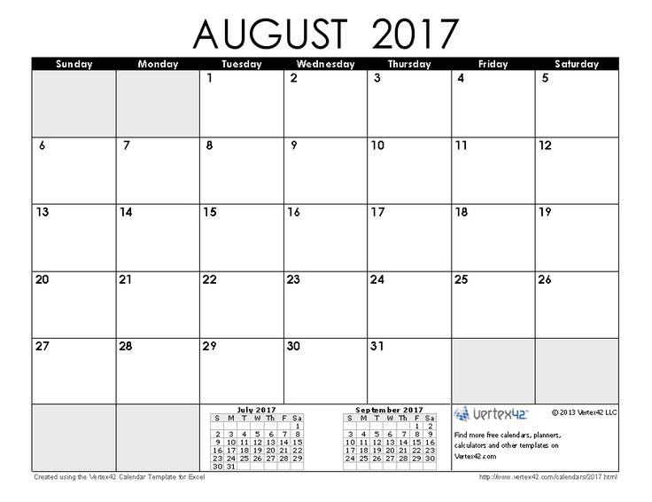 August 2017 Calendar Australia