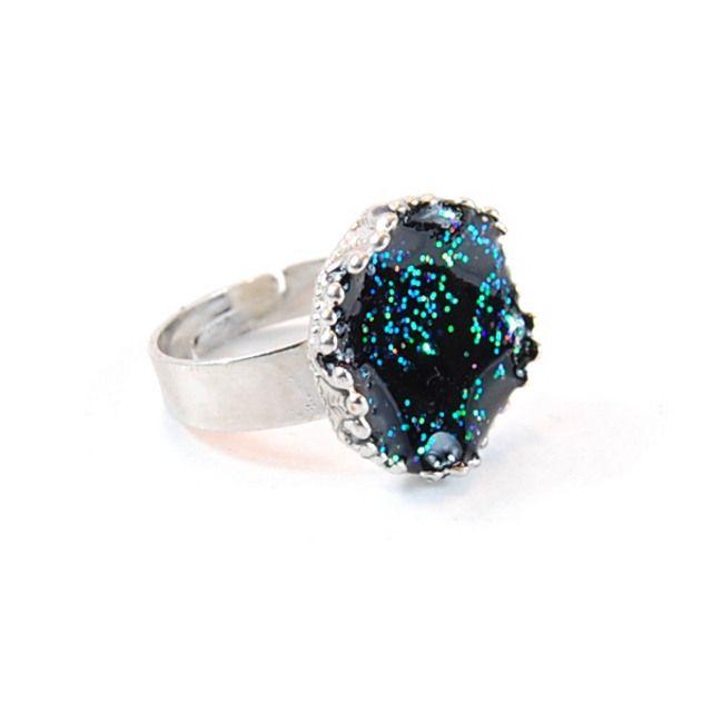 Anello Glitter Nero in resina Black Glitter Ring epoxy resin ring handmade by Daffodil BIjoux