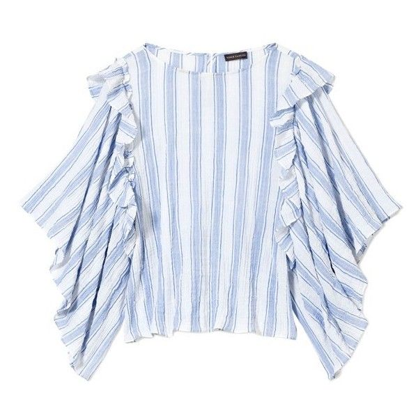 Women's Vince Camuto Stripe Puckered Blouse ($89) ❤ liked on Polyvore featuring tops, blouses, vince camuto blouses, striped top, vince camuto, stripe top and striped blouse