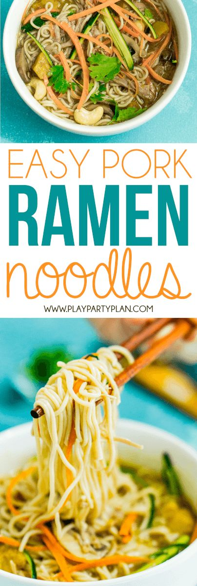 Upgrade your ramen noodles with this delicious pork ramen recipe! It's easy, healthy, and something your entire family will love! Make the soup broth first, add in your noodles, then top with chicken or pork for a great weeknight meal. One of the best ramen noodle recipes I've ever tried! Sponsored