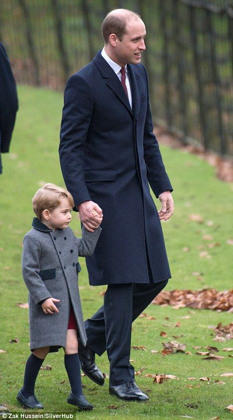 Prince William could be seen talking animatedly to his son as they strolled through the ch...