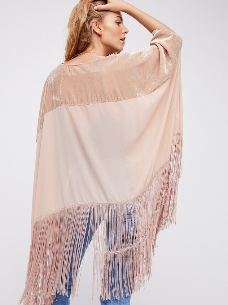 Maritza Veer || FP Velvet Dreams Sheer Chiffon Fringe Kimono (Sugar Blush)