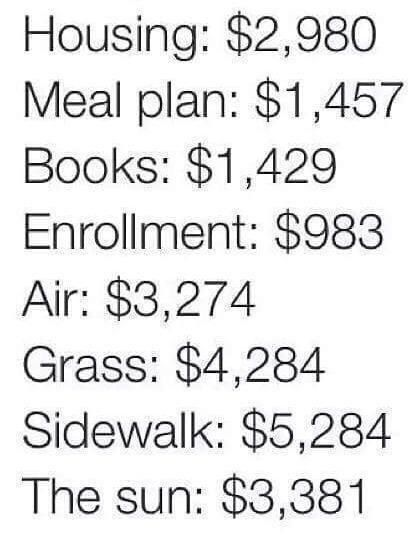 College Prices be like..