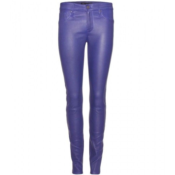 Marc by Marc Jacobs Mirah Leather Trousers ($557) ❤ liked on Polyvore featuring pants, marc jacobs, calças, blue, purple, violet bloom, blue leather pants, purple leather pants, skinny pants and cobalt blue skinny pants