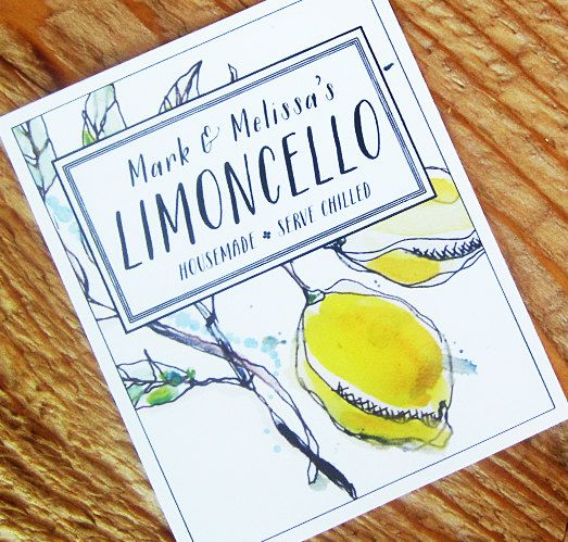 Personalized Limoncello Tags or Lemoncello Labels, Set of 18