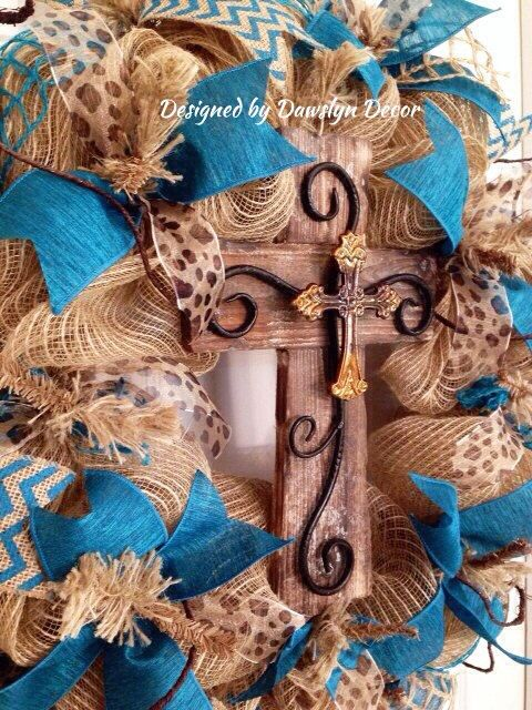 Burlap Deco Mesh Wreath Burlap Wreath Cross by DawslynDecor