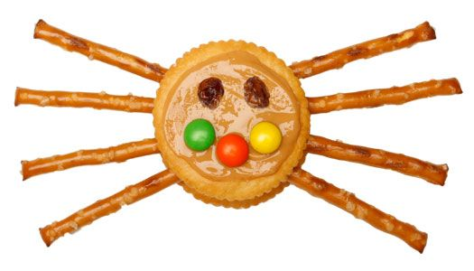 Cute snack: Crawling Cracker . . . can make with cream cheese in the middle for those with peanut allergies.
