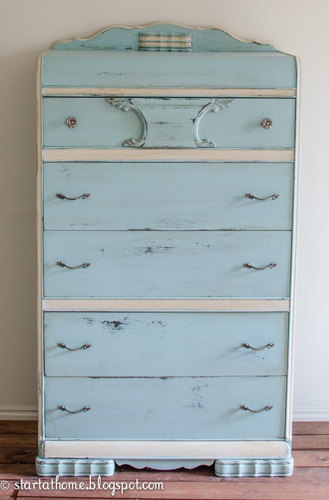Start at Home: 1920's Waterfall Dresser (used a dark wax for antiquing)