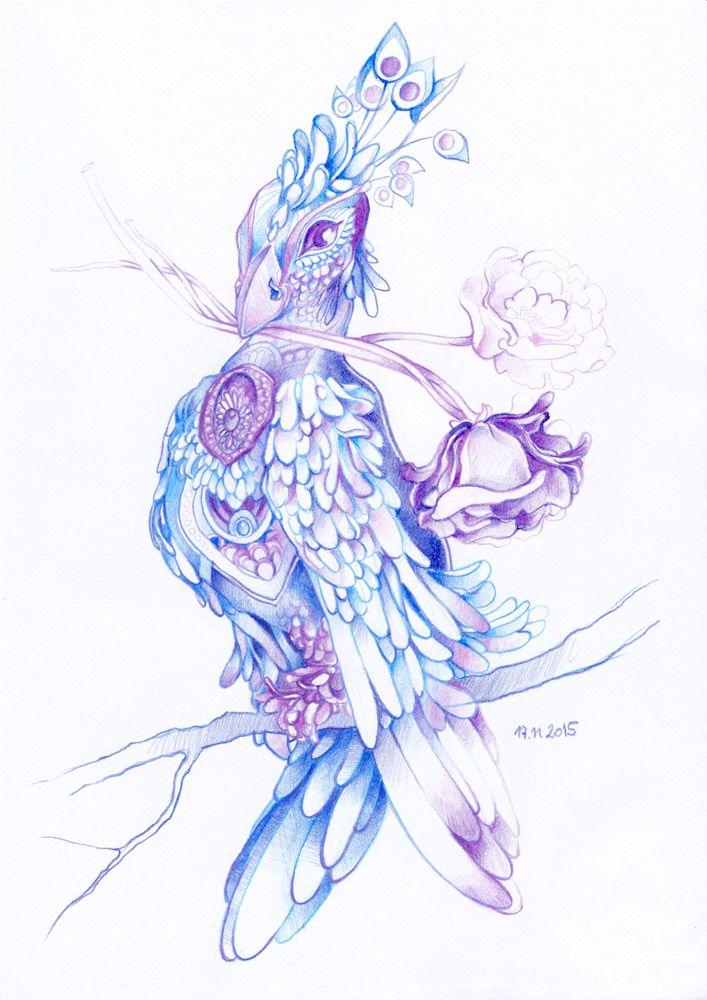 Fantasy bird drawn with colored pencils by #minkulul Find more on DeviantART: http://minkulul.deviantart.com/art/Fantasy-bird-no-2-573969885