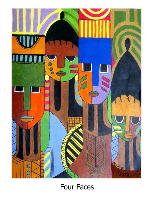 Four Faces a | Milton Shirdan II: Shirdan Ii, Canvas Art, Milton Shirdan, Decorative Painting, Black Art