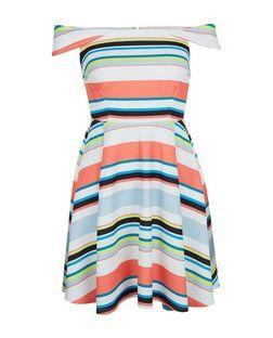 Multicoloured Stripe Bardot Neck Skater Dress  | New Look £29.99