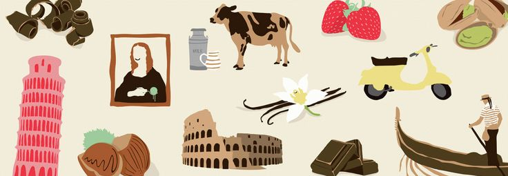 Gino Gelato Brand Illustrations