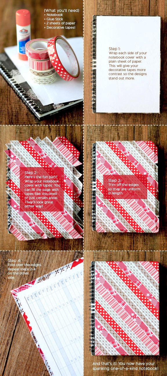 Washi tapes DIY notebook tutorial 42 best