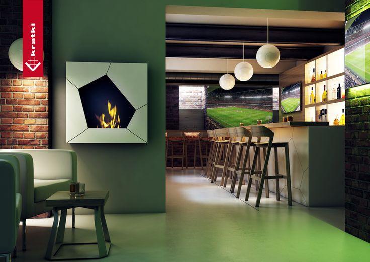 Biofireplace Ball #kratki #biofireplace #restaurant #pub #bar #green #football