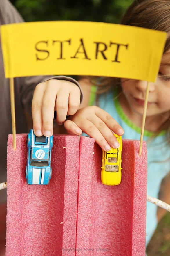 love this-- cut pool noodles in half to make racetracks!!!