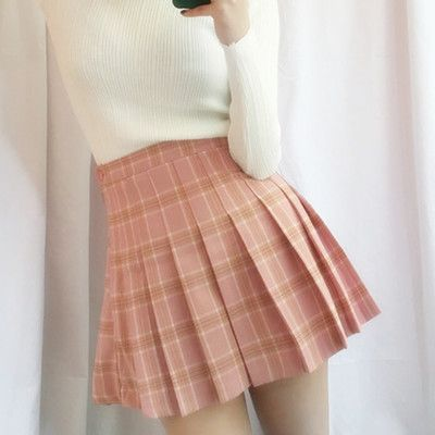 Korea's sweet grid pleated skirt skirts from Women Fashion {Europe America}