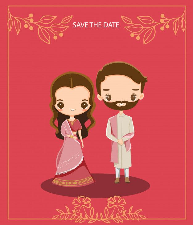 Cute Indian Cartoon Couple For Wedding Invitations Card