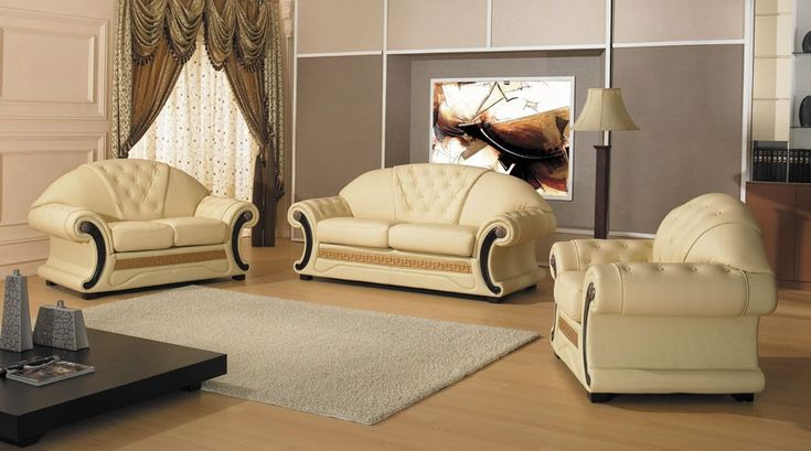 Cleopatra Traditional Leather Sofa Set $1,970.00
