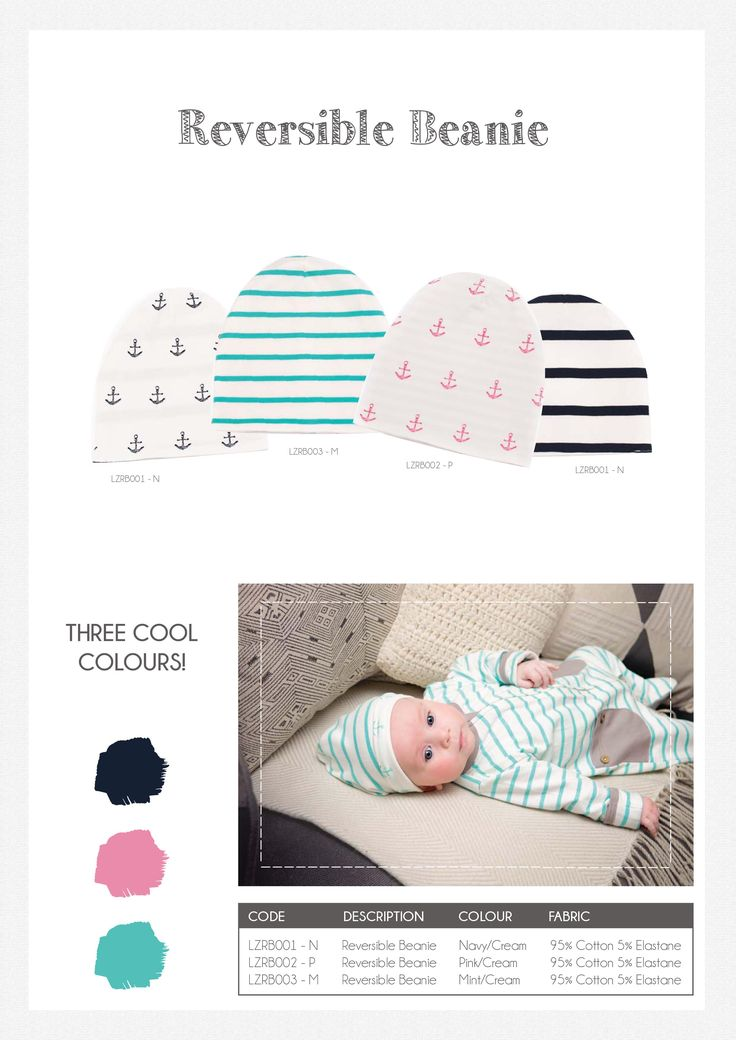 Li'l Zippers: Baby Gift Idea Reversible Beanie Colours: Navy/Cream, Pink/Cream, Mint/Cream