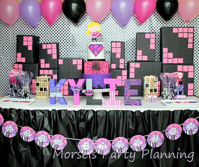 Girly Superhero Birthday Party Ideas - The Love Nerds                                                                                                                                                                                 More