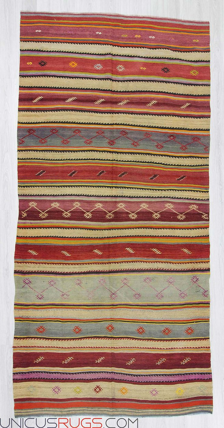 """Striped vintage kilim rug from Denizli region of Turkey.İn good condition.Approximately 40-50 years old. Width: 5' 10"""" - Length: 11' 11"""" Striped Kilims"""
