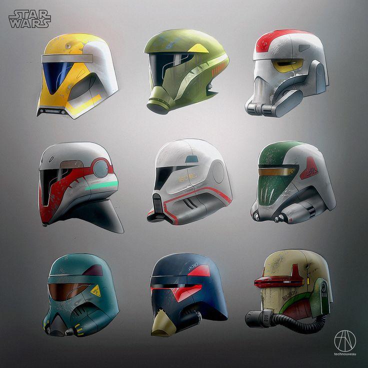 Helmet Sketches, Rasmus Poulsen on ArtStation at https://www.artstation.com/artwork/YJXRd