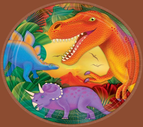 Have A Dino Mite Party Prehistoric Dinosaurs Metallic Lunch Plates Feature 3 Colorful Against Lush Background Features Glow