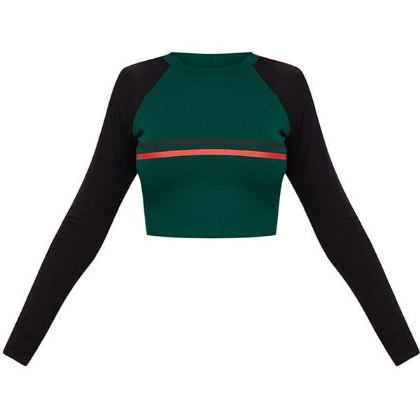 Emerald Green Contrast Stripe Longsleeve Jersey Crop Top ($18) ❤ liked on Polyvore featuring tops, white jersey, white long sleeve top, white jersey top, white crop tops and jersey top
