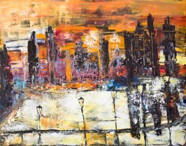 "Saatchi Art Artist Leslie Fehler; Painting, ""dawn in the city"" #art"