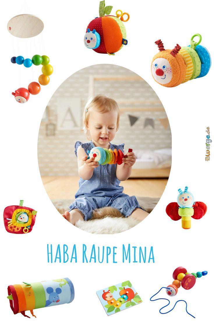 Die Raupe Mina. Diese neue Serie von HABA in bunten kräftigen Farben bietet alles aus Holz und Stoff. Vom Baby- bis ins Kleinkindalter. Vom Mobile, über die Krabbelrolle, bis zum Nachziehtier und dem Hol