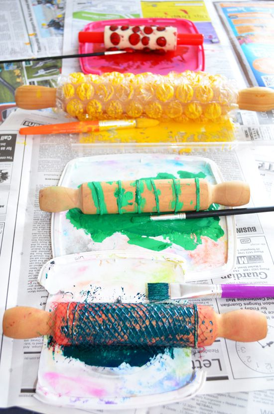 Rolling pin printing is a brilliant way to print wrapping paper at home! Buy some cheap rolling pins (or reallocate some old ones) and wrap them in string, bubble wrap or netting (the stuff oranges and lemons come in). Roll in some paint (use Christmas colours) and then roll onto some brown packing paper or lining paper. Homemade wrapping paper done!