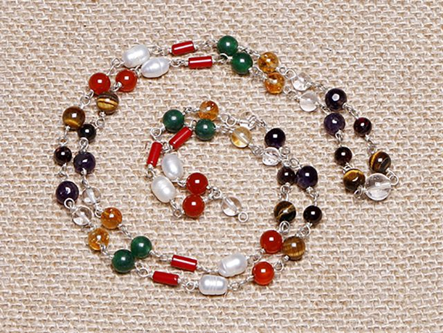This rare mala consists of 9 semi-precious stones, each one representing a planet of the solar system. Stones include carnelian (Sun), pearl (Moon), coral (Mars), aventurine (Mercury), citrine (Jupiter), quartz (Venus), amethyst (Saturn), garnet (Raku), and tiger's eye (Ketu). Strung together, these stones are thought to restore balance where needed in the wearer's astrological chart.  http://atmasofferings.com/product/planetary-mala-wired/