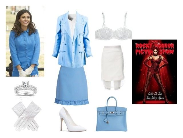 """""""Rocky Horror Picture Show - Janet"""" by thecaptain101 ❤ liked on Polyvore featuring Gucci, Glamorous, Chanel, Black, Hermès, Mason's, I.D. SARRIERI and Annello"""