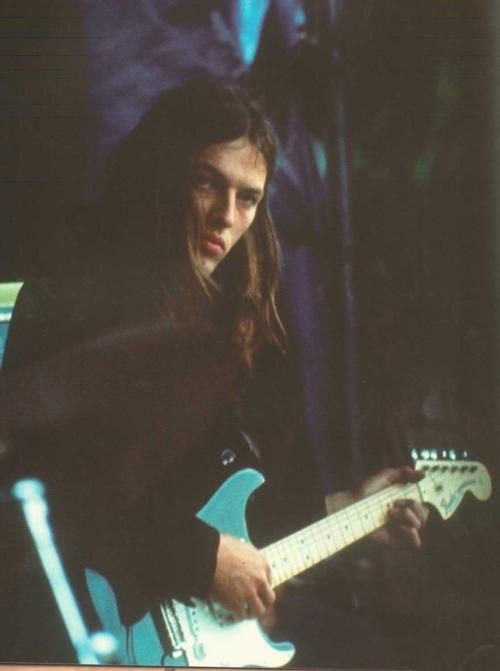 Pink Floyd's David Gilmour with his black Strat, Amsterdam, Netherlands, 1971, photograph by Gijsbert Hanekroot.