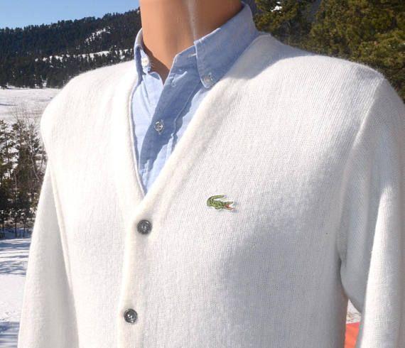 d1f77f48fa136 70s vintage izod lacoste CARDIGAN sweater golf knit v-neck white ...