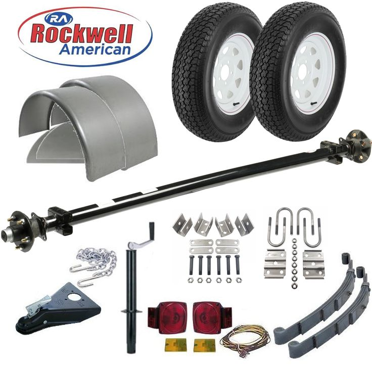 6′ 4″ Wide Utility Trailer Parts Kit – 3,500 lb Capacity – Model T1110 Deluxe–  Rockwell American Posi-Lube Idler Axle with Premium Powder Coat Finish.